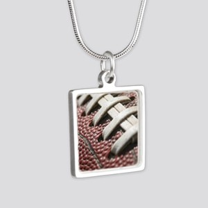 Football  2 Silver Square Necklace