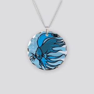 Blue Betta Necklace Circle Charm