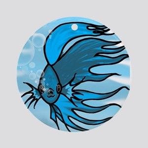 Blue Betta Round Ornament