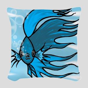 Blue Betta Woven Throw Pillow