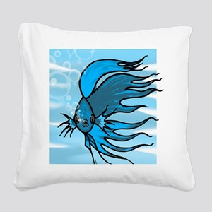 Blue Betta Square Canvas Pillow