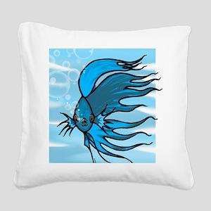 Blue Betta Square Canvas Pillow
