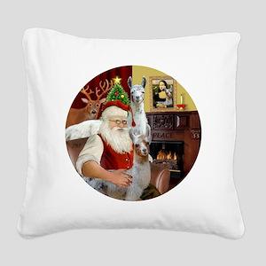 Santa with his Mama Llama  Ba Square Canvas Pillow