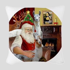 Santa with his Mama Llama  Bab Woven Throw Pillow