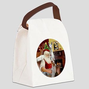 Santa with his Mama Llama  Baby Canvas Lunch Bag
