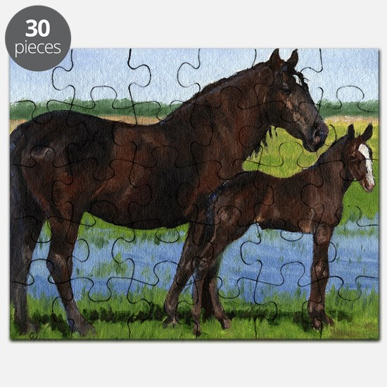 Percheron Mare And Foal Draft Horse Puzzle