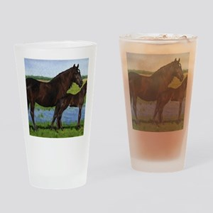 Percheron Mare And Foal Draft Horse Drinking Glass