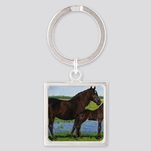 Percheron Mare And Foal Draft Hors Square Keychain