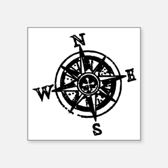 "Large compass Square Sticker 3"" x 3"""