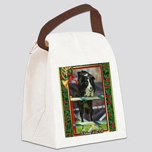 Border Collie Agility Christmas Canvas Lunch Bag