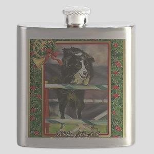 Border Collie Agility Christmas Flask