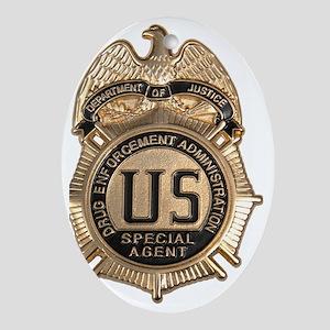 dea badge Oval Ornament