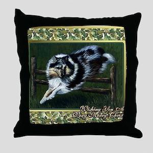 Collie Dog Christmas Throw Pillow