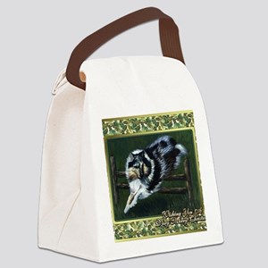 Collie Dog Christmas Canvas Lunch Bag