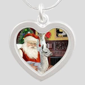 Santa with his Mama Llama  B Silver Heart Necklace