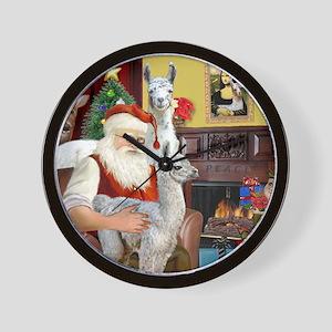 Santa with his Mama Llama  Baby Wall Clock