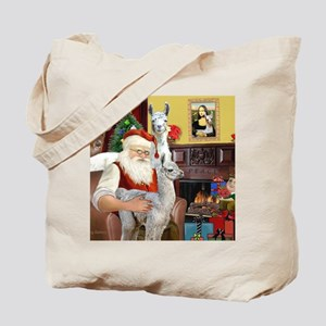 Santa with his Mama Llama  Baby Tote Bag