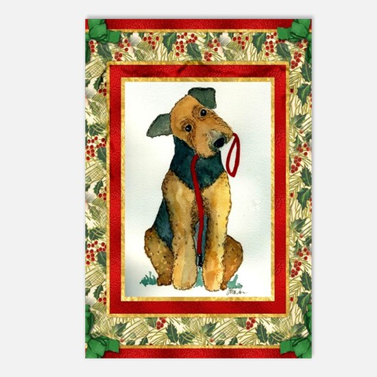 Airedale Terrier Christma Postcards (Package of 8)