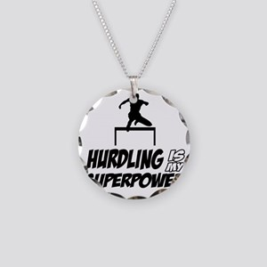Hurdling track designs Necklace Circle Charm