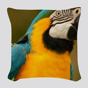 blue and gold macaw Woven Throw Pillow