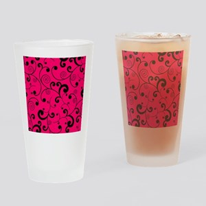 Elegant Hot Pink and Black Scroll P Drinking Glass