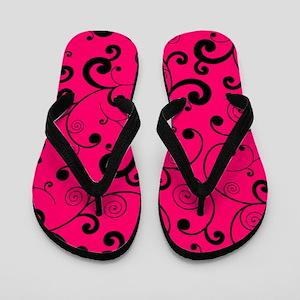 Elegant Hot Pink and Black Scroll Patte Flip Flops