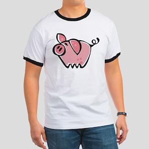 Cute Cartoon Pig Ringer T
