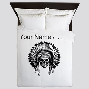 Custom Native American Skull Queen Duvet