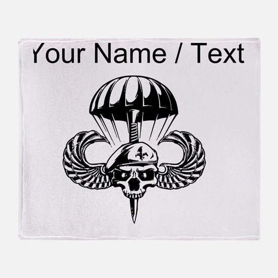 Custom Paratrooper Skull Throw Blanket