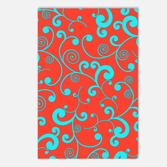 Elegant Orange and Aqua B Postcards (Package of 8)