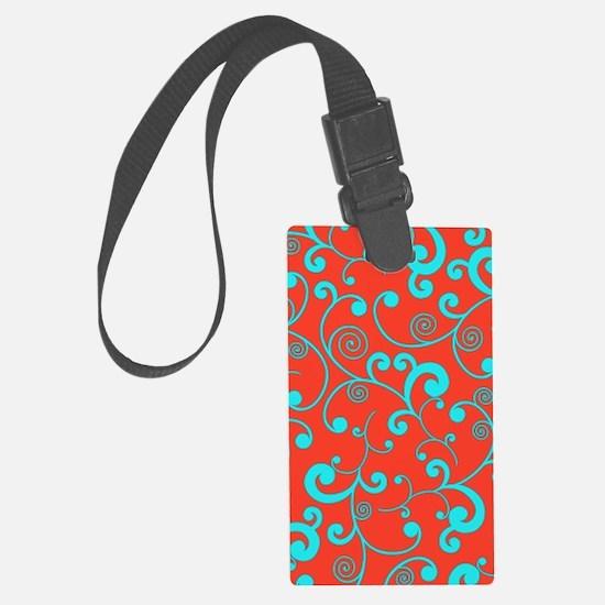 Elegant Orange and Aqua Blue Scr Luggage Tag