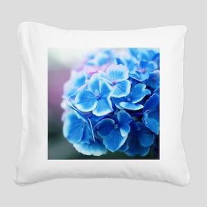 Blue Hydrangeas Square Canvas Pillow