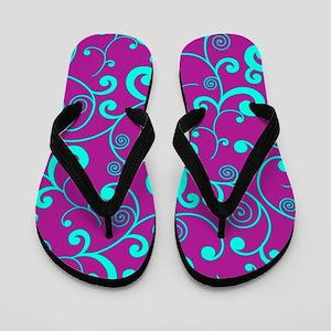Elegant Purple and Aqua Blue Scroll Pat Flip Flops