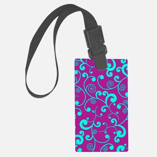 Elegant Purple and Aqua Blue Scr Luggage Tag