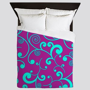Elegant Purple and Aqua Blue Scroll Pa Queen Duvet