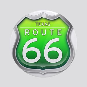 Texas Route 66 - Green Round Ornament