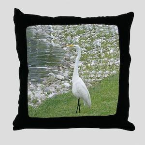The Egret man allover Throw Pillow