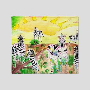Zebras Day on the GrassLand Throw Blanket