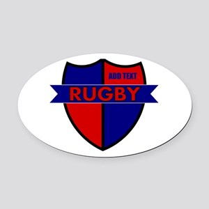 Rugby Shield Blue Red Oval Car Magnet