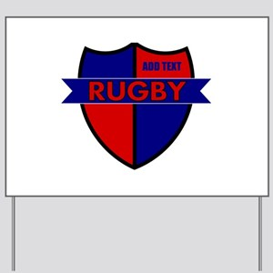 Rugby Shield Blue Red Yard Sign
