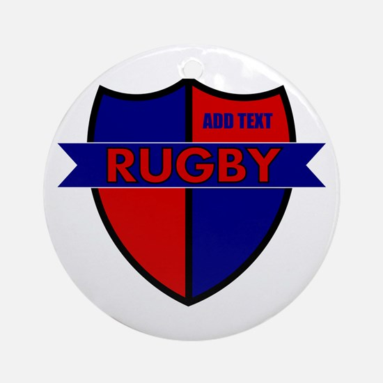 Rugby Shield Blue Red Ornament (Round)