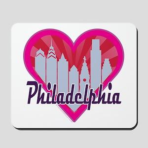 Philly Skyline Sunburst Heart Mousepad