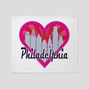 Philly Skyline Sunburst Heart Throw Blanket