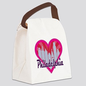 Philly Skyline Sunburst Heart Canvas Lunch Bag