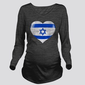 Heart for Israel Long Sleeve Maternity T-Shirt