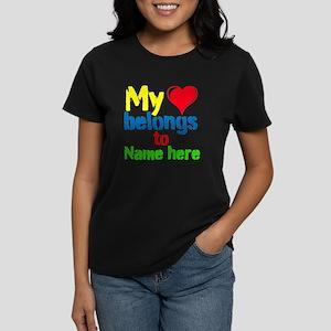 Personalizable,My Heart Belongs To Women's Dark T-