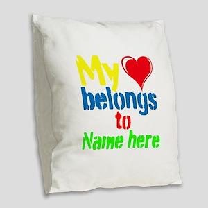 Personalizable,My Heart Belongs To Burlap Throw Pi