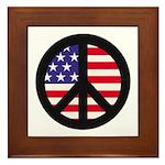 Peace Sign - Flag Framed Tile