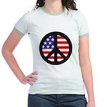Peace Sign - Flag Jr. Ringer T-Shirt