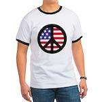 Peace Sign - Flag Ringer T